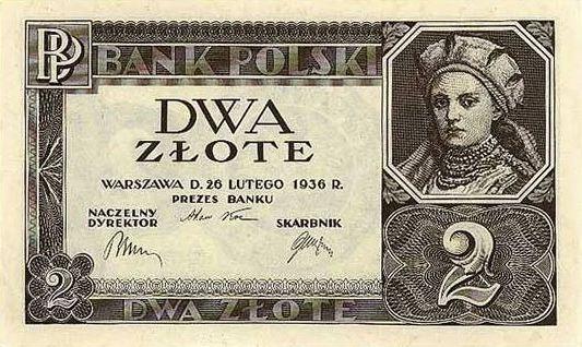 Na ilustracji: Dąbrówka (żona Mieszka I.) na 2-złotowym banknocie z 1936 roku. Fot. Wikipedia