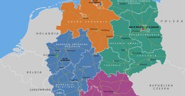 Zasięg polskich okregów konsularnych w Niemczech. Źródło: www. berlin.msz.gov.pl