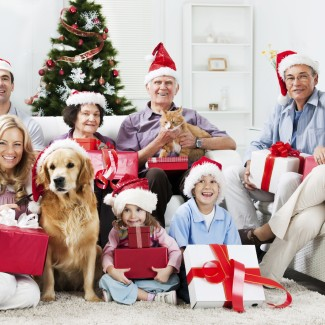 Beautiful multi-generation family sitting in the living room with their pets and holding Christmas presents.  [url=http://www.istockphoto.com/search/lightbox/9786778][img]http://dl.dropbox.com/u/40117171/family.jpg[/img][/url]  [url=http://www.istockphoto.com/search/lightbox/9786797][img]http://dl.dropbox.com/u/40117171/people-animals.jpg[/img][/url]